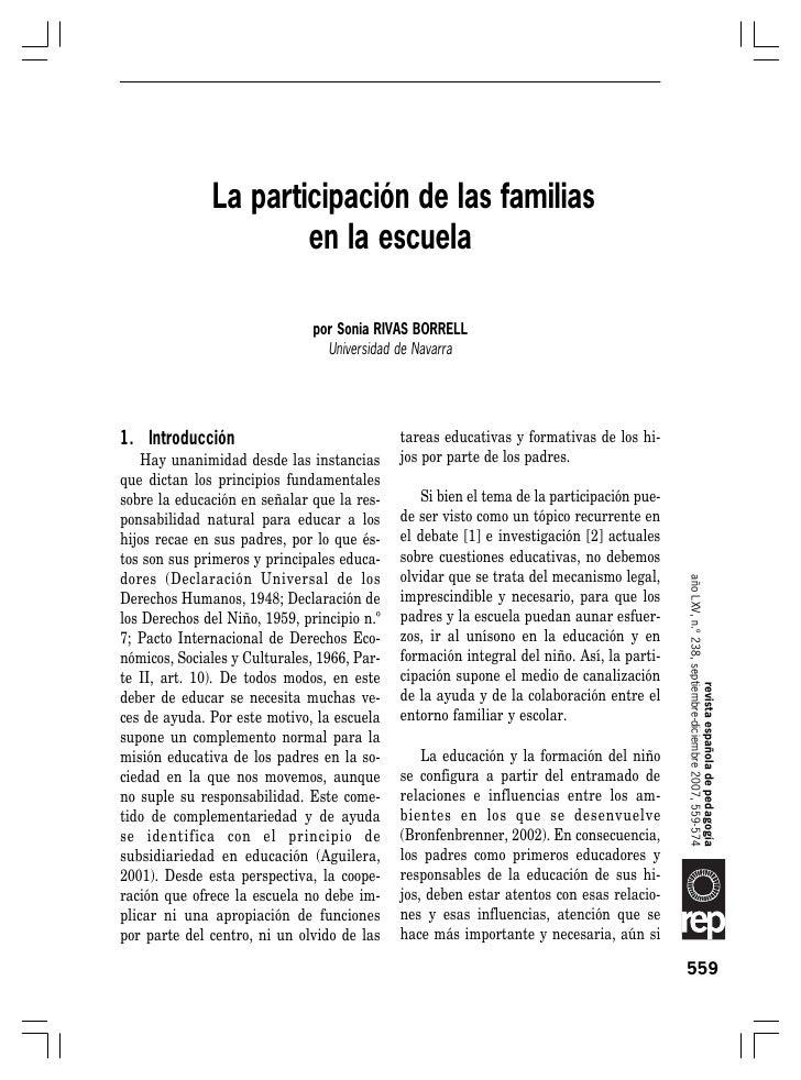 La participación de las familias en la escuela              La participación de las familias                      en la es...