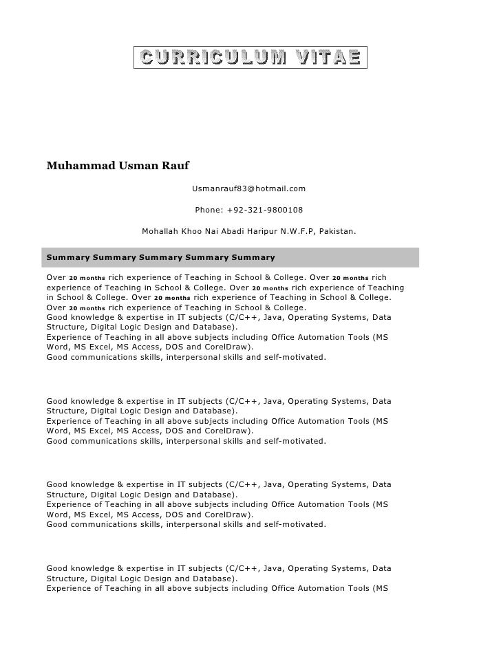 Muhammad Usman Rauf                                    Usmanrauf83@hotmail.com                                     Phone: ...