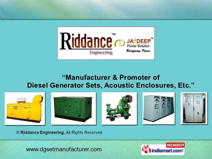 """"""" Manufacturer & Promoter of Diesel Generator Sets, Acoustic Enclosures, Etc."""""""