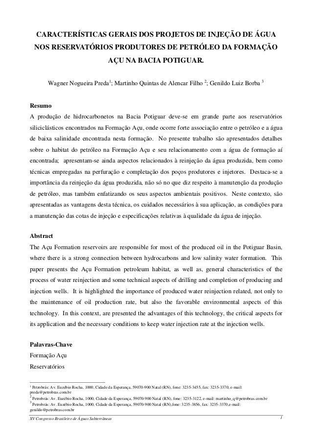 CARACTERÍSTICAS GERAIS DOS PROJETOS DE INJEÇÃO DE ÁGUA    NOS RESERVATÓRIOS PRODUTORES DE PETRÓLEO DA FORMAÇÃO            ...
