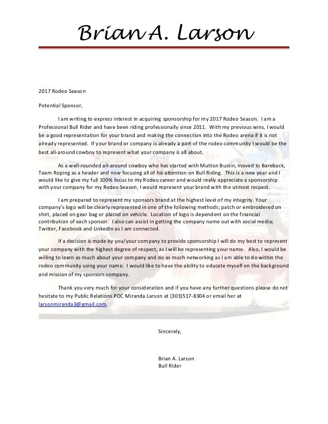 rodeo sponsorship letters howtoviewsco