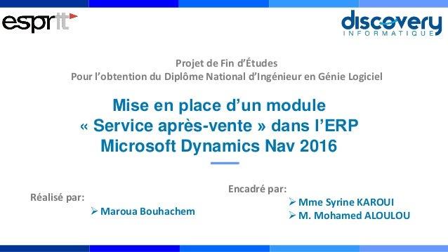 Mise en place d'un module « Service après-vente » dans l'ERP Microsoft Dynamics Nav 2016 Encadré par: Mme Syrine KAROUI ...