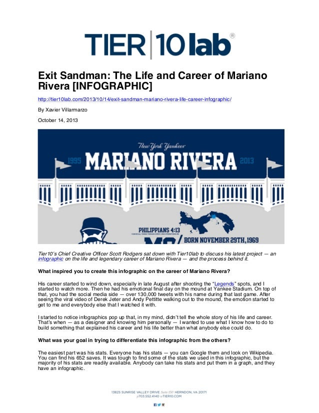 Exit Sandman: The Life and Career of Mariano Rivera [INFOGRAPHIC] http://tier10lab.com/2013/10/14/exit-sandman-mariano-riv...