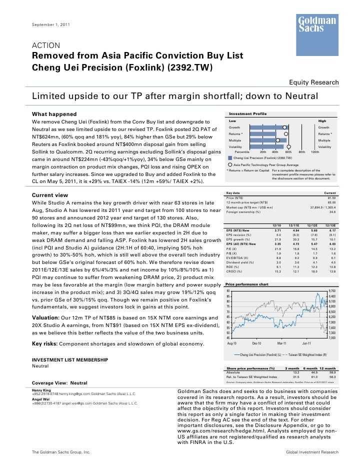 September 1, 2011ACTIONRemoved from Asia Pacific Conviction Buy ListCheng Uei Precision (Foxlink) (2392.TW)               ...
