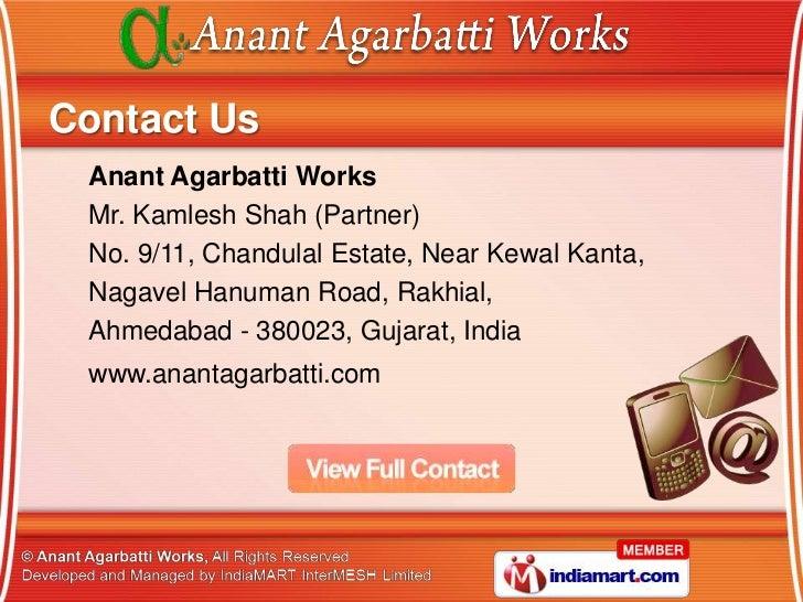Anant Agarbatti Works Gujarat India