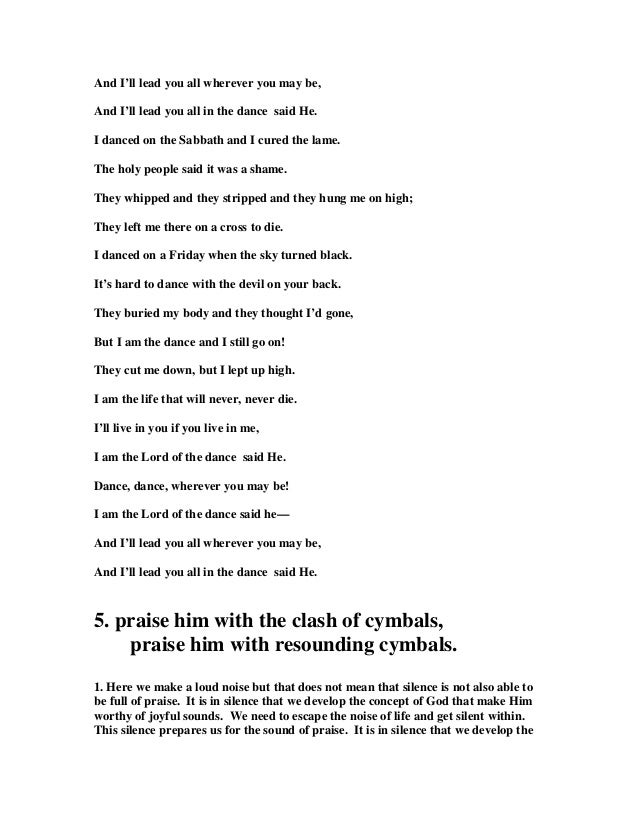 Lyric lord of the dance hymn lyrics : 23931734 psalm-150-commentary