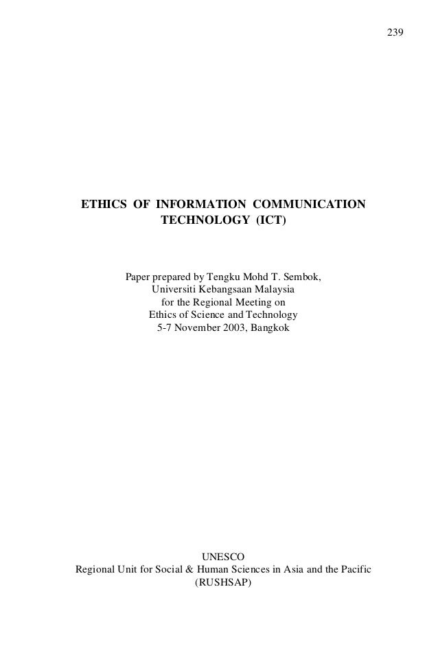 ict ethics issues in malaysia The malaysian online journal of educational technology volume 1, issue 4 wwwmojetnet utilization of ict by moral education teachers ilhavenil a/p narinasamy[1], wan hasmah wan mamat[2] [1] venil69@yahoocom foundational education and humanities department faculty of education, university of malaya [2.