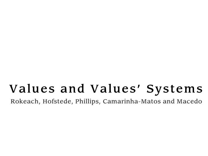 Val ues and Val ues' Syst em s Rokeach, Hofstede, Phillips, Camarinha-Matos and Macedo