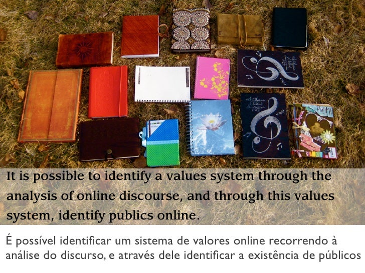 It is possible to identify a values system through the analysis of online discourse, and through this values system, ident...