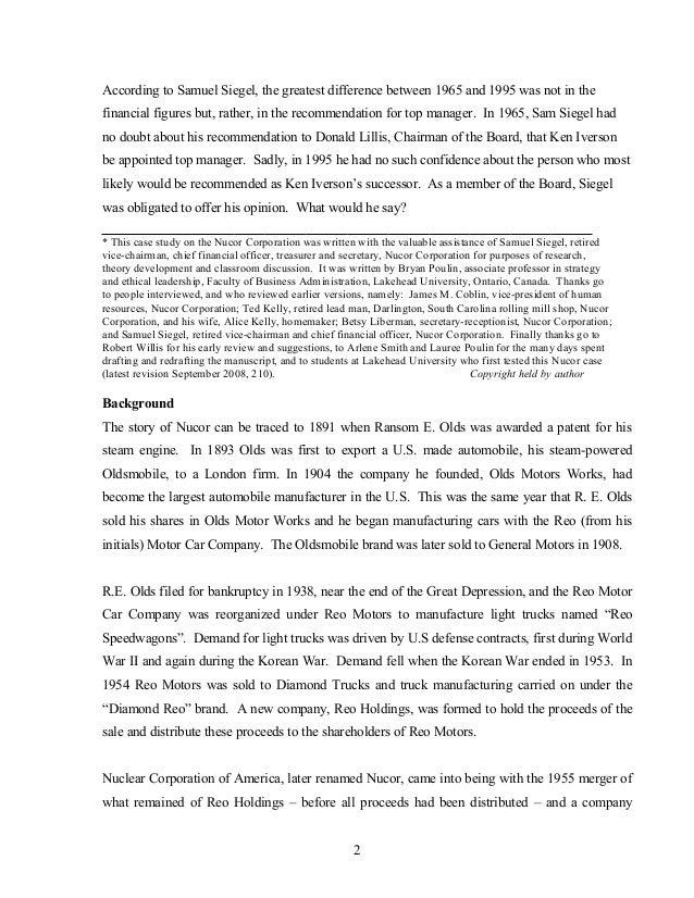 nucor case Nucor case anlaysis by: hardik mishra (b08010) kaushambi ghosh (b08012) pankaj agarwal (b08020) ritesh chowdhary ( slideshare uses cookies to improve functionality and performance, and to provide you with relevant advertising.