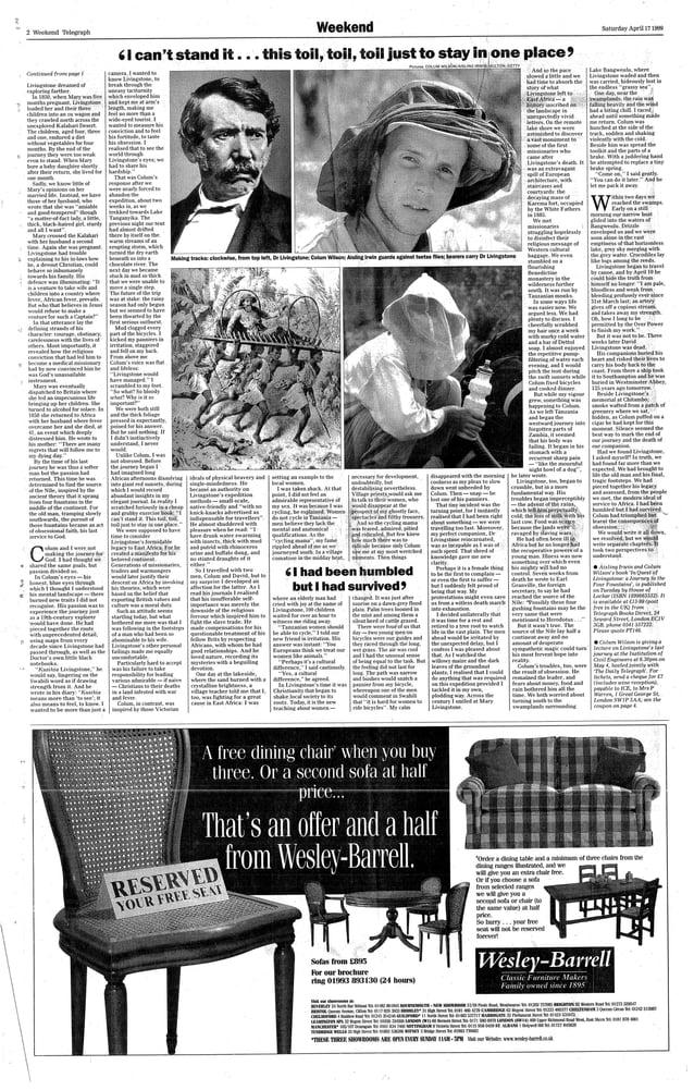 Telegraph Livingstone Article