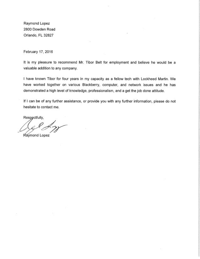 Letter Of Recommendation Letter Of Recommendation Sample