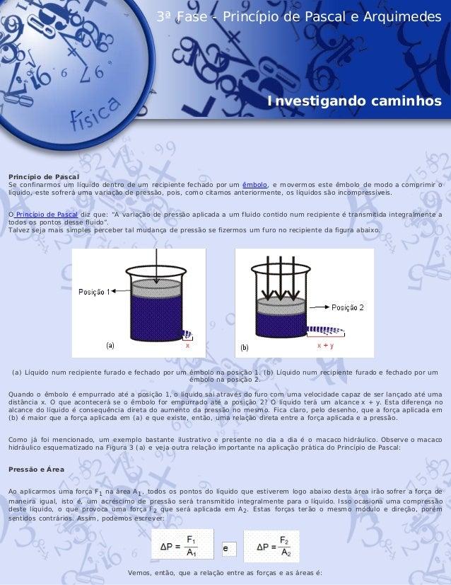 3ª Fase - Princípio de Pascal e Arquimedes Investigando caminhos   Princípio de Pascal Se confinarmos um líquido dentro ...