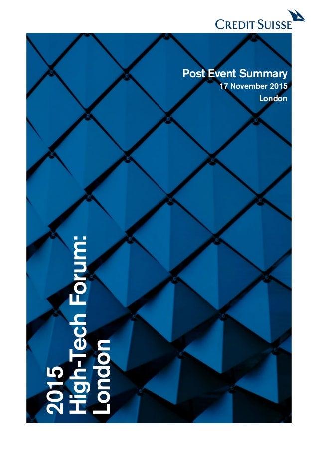2015 High-TechForum: London Post Event Summary 17 November 2015 London