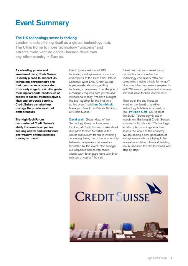 Credit Suisse High-Tech Forum Report Slide 2