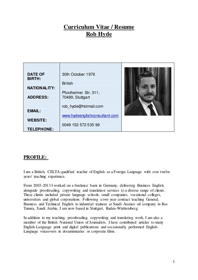 1 curriculum vitae resume rob hyde date of birth nationality address email