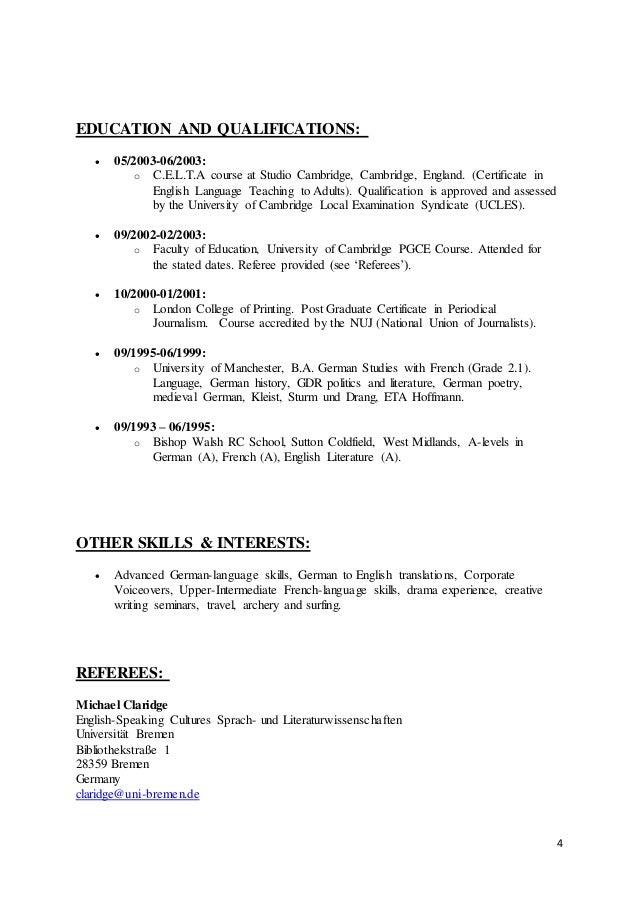 Curriculum Vitae German Cv Document Writing Reading And