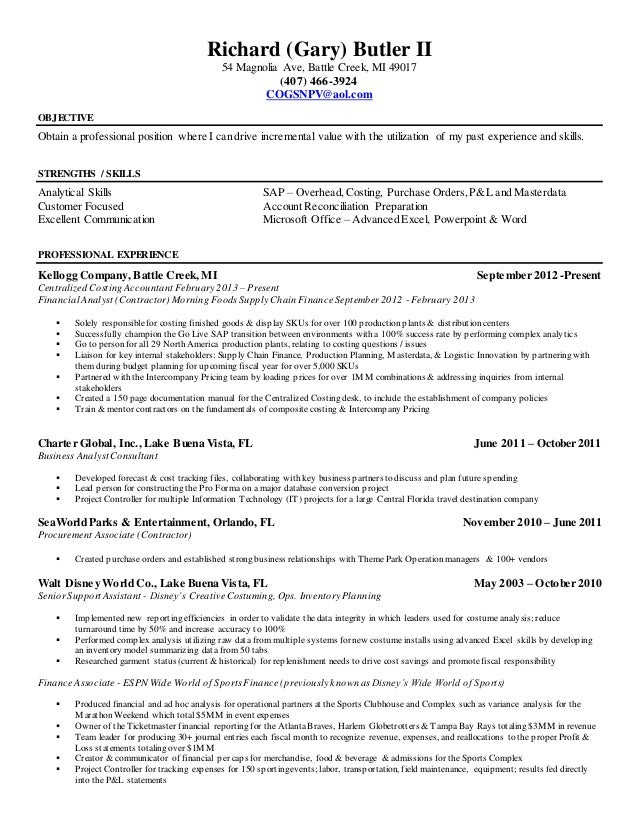 Resume R Gary Butler II Financial Analyst