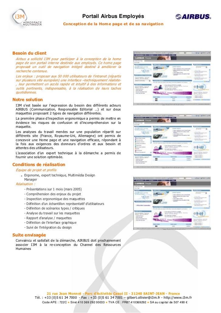 Portail Airbus Employés                                    Conception de la Home page et de sa navigationBesoin du client ...