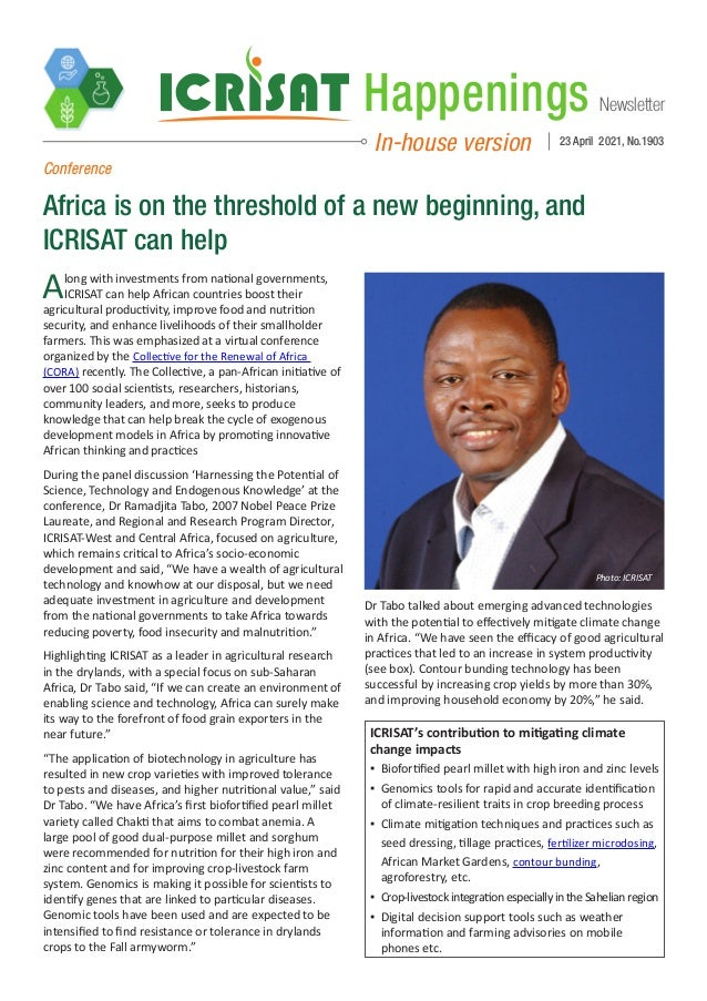 Newsletter Happenings In-house version 23 April 2021, No.1903 Conference Africa is on the threshold of a new beginning, an...