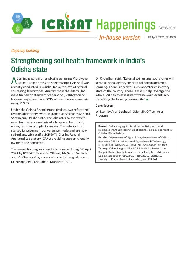 Newsletter Happenings In-house version 23 April 2021, No.1903 Capacity building Strengthening soil health framework in Ind...