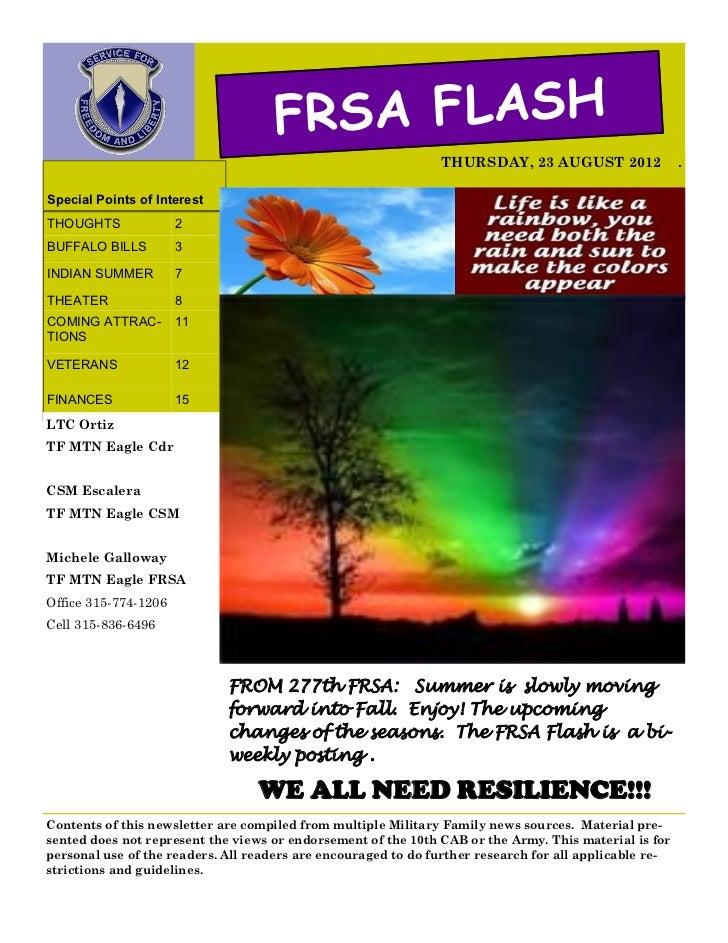 FRSA FLASH                                                               THURSDAY, 23 AUGUST 2012                 .Special...