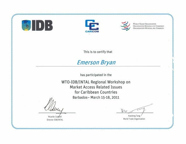 Certificate in Market Access Related Issues for Caribbean Countries