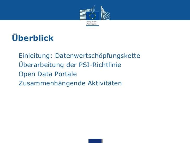 Überblick•   Einleitung: Datenwertschöpfungskette•   Überarbeitung der PSI-Richtlinie•   Open Data Portale•   Zusammenhäng...