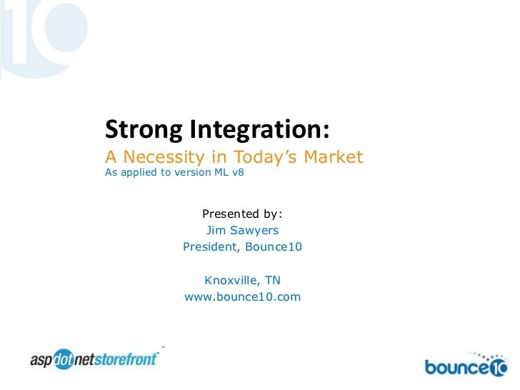 Strong Integration: <br />A Necessity in Today's Market<br />As applied to version ML v8<br />Presented by: <br />Jim Sawy...