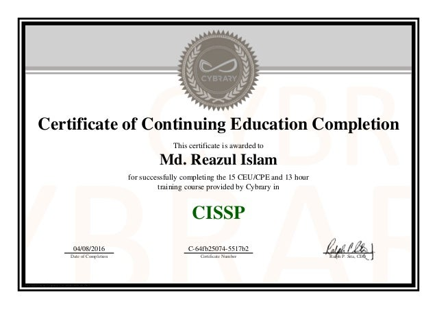 Cissp Online 15 Ceu Cpe And 13 Hour Training By Cybrary
