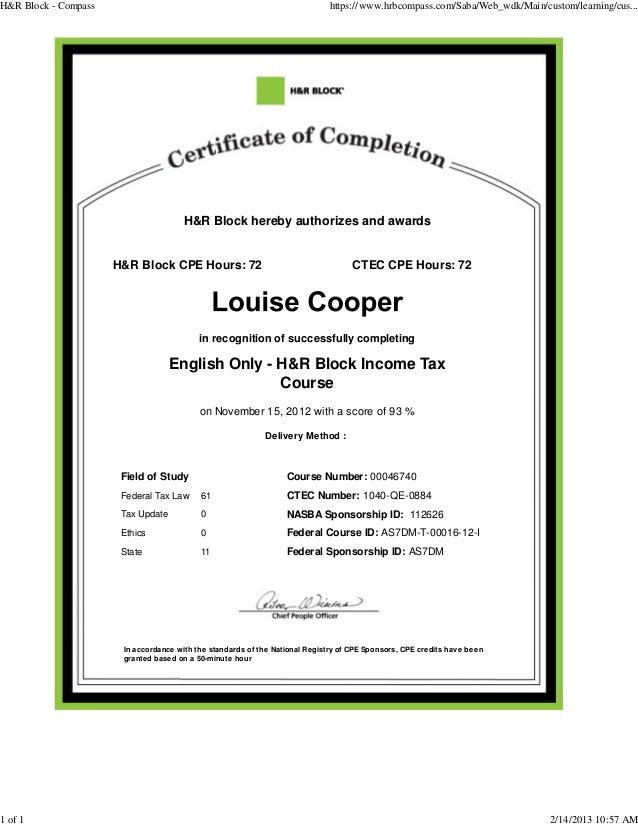 H R Bolck Income Tax Course