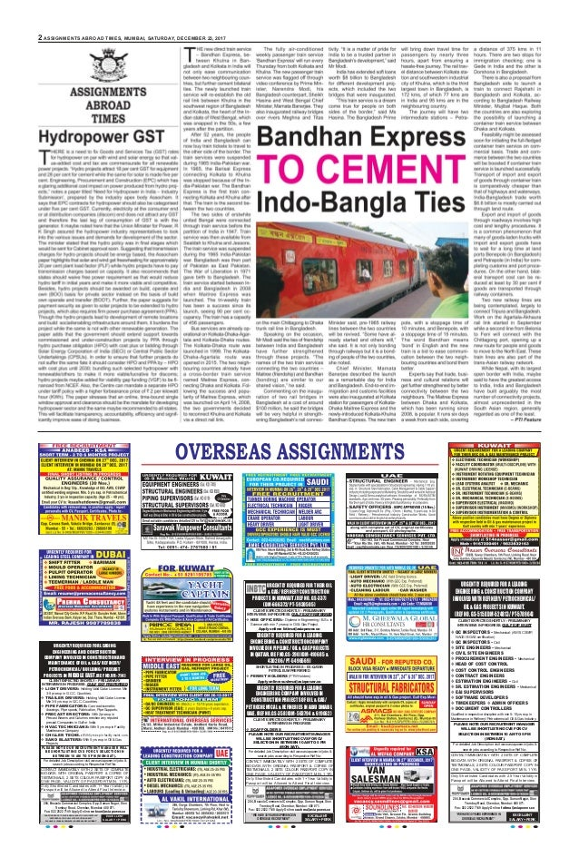 2 assignments abroad times, Mumbai, saturday, december 23, 2017 overseas assignments FIRST PRIORITY 90 Size 6 X 13 Urgentl...