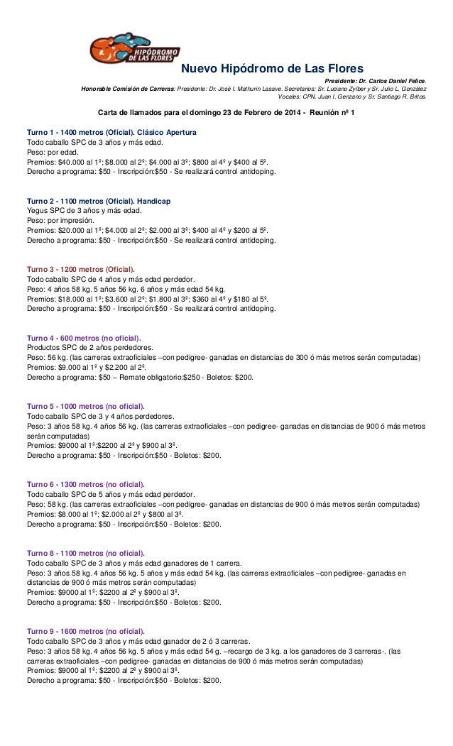 Nuevo Hipódromo de Las Flores Presidente: Dr. Carlos Daniel Felice. Honorable Comisión de Carreras: Presidente: Dr. José I...