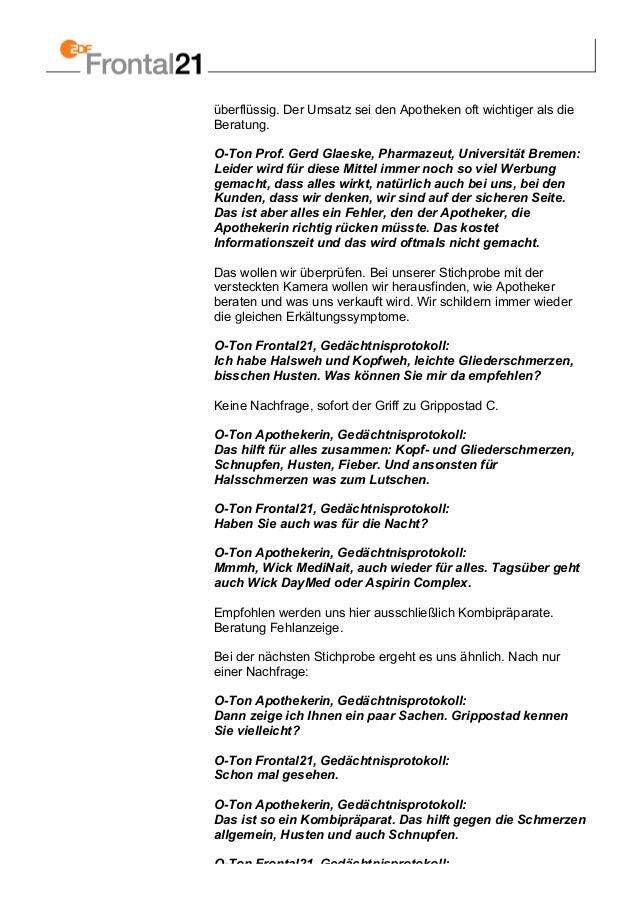 überflüssig. Der Umsatz sei den Apotheken oft wichtiger als die Beratung. O-Ton Prof. Gerd Glaeske, Pharmazeut, Universitä...