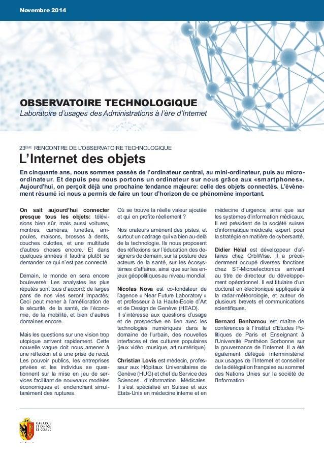 Novembre 2014  OBSERVATOIRE TECHNOLOGIQUE  Laboratoire d'usages des Administrations à l'ère d'Internet  23ÈME RENCONTRE DE...
