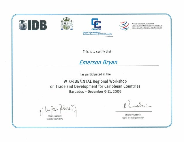 Certificate in Trade and Development for Caribbean Countries
