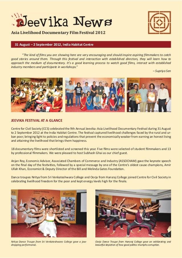 Asia Livelihood Documentary Film Festival 2012 31 August – 2 September 2012, India Habitat Centre
