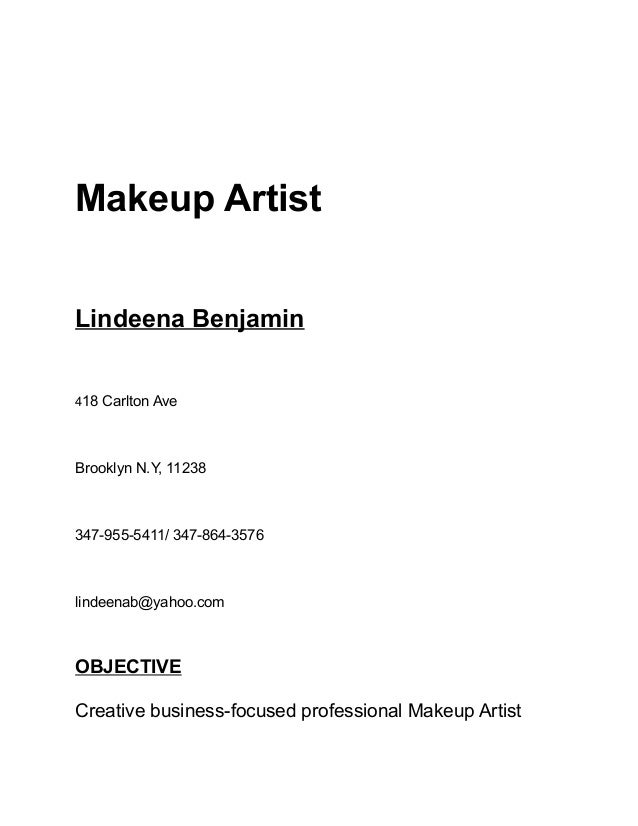 resume of makeup artist