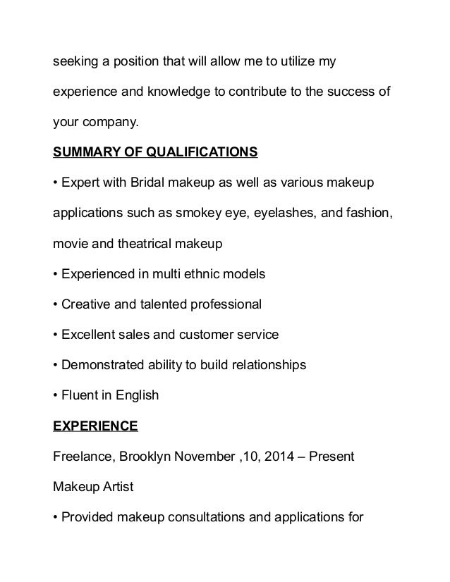 professional makeup artist resumes