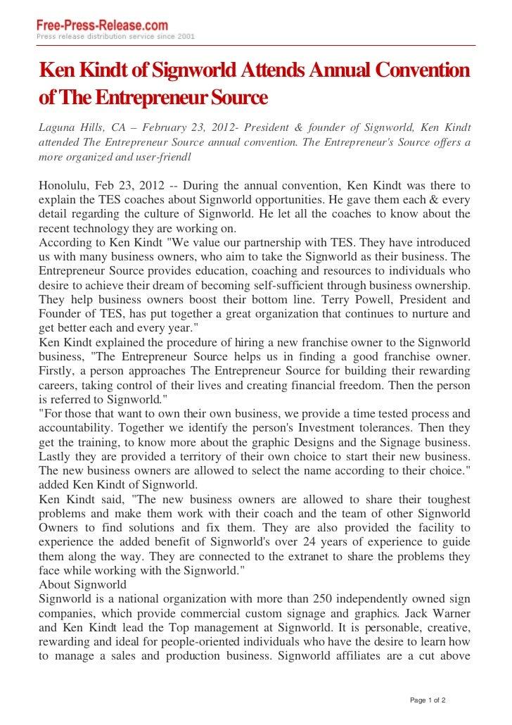Ken Kindt of Signworld Attends Annual Conventionof The Entrepreneur SourceLaguna Hills, CA – February 23, 2012- President ...