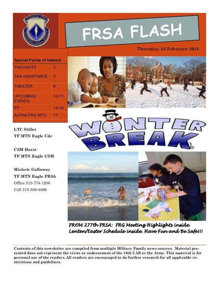 FRSA FLASH                                                                  Thursday, 23 February 2012            .Special...