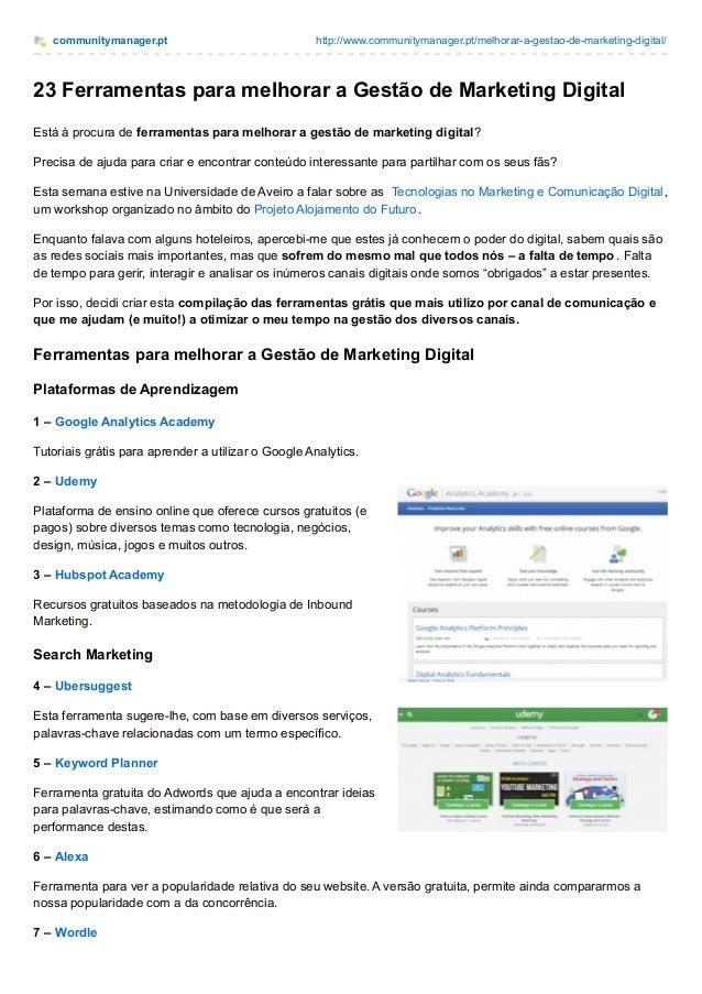 communitymanager.pt http://www.communitymanager.pt/melhorar-a-gestao-de-marketing-digital/ 23 Ferramentas para melhorar a ...