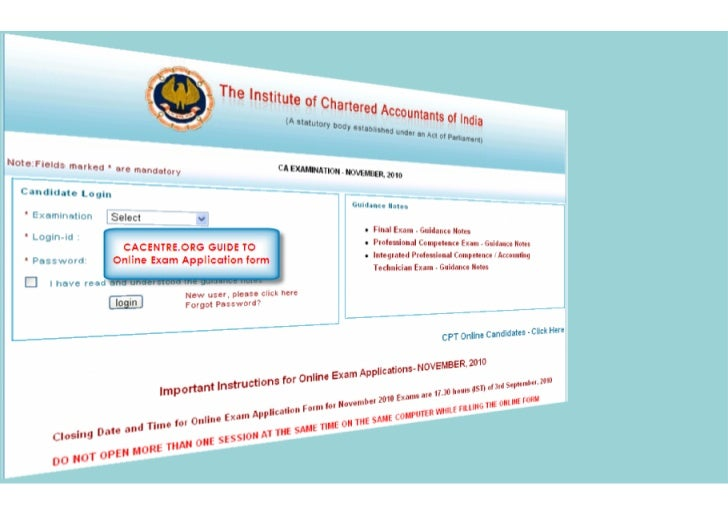 Guide to online PCC IPCC exam application form