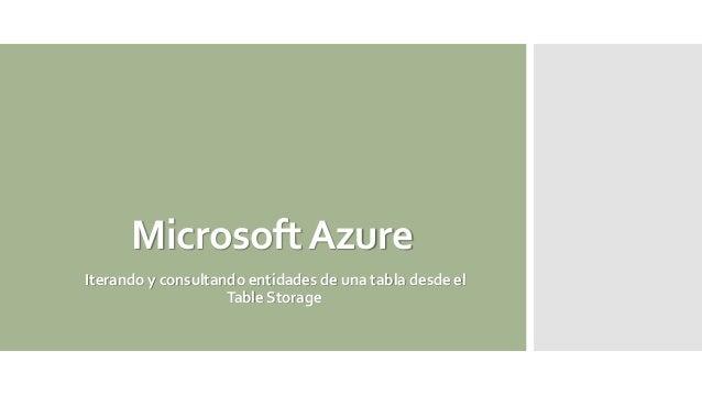 MicrosoftAzure Iterando y consultando entidades de una tabla desde el Table Storage