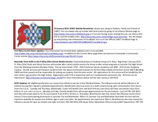 23 January 2013 1ABCT Weekly Newsletter: please pass along to Soldiers, Family and Friends of                             ...