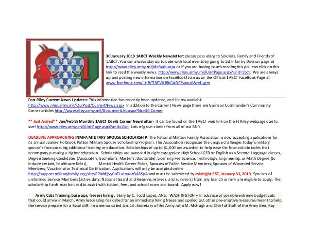 30 January 2013 1ABCT Weekly Newsletter: please pass along to Soldiers, Family and Friends of                             ...