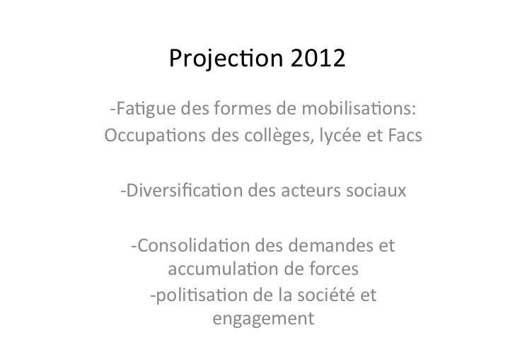 "Projec9on2012 Arrivéede""laultra""(extrêmegauche)auxFédéra9onsd'étudiantslesplusimportantes:                ..."