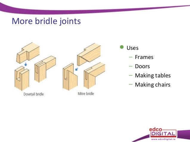 Bridle joints  Uses \u2013 Frames \u2013 Doors \u2013 Making tables \u2013 Making chairs; 10.  sc 1 st  SlideShare & 23 joints