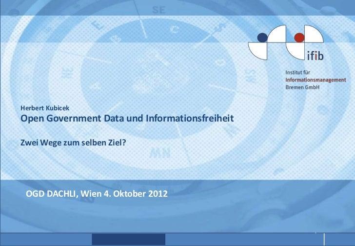 Herbert KubicekOpen Government Data und InformationsfreiheitZwei Wege zum selben Ziel? OGD DACHLI, Wien 4. Oktober 2012