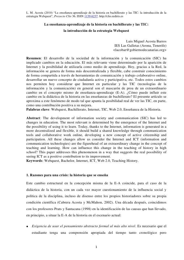 """L. M. Acosta (2010) """"La enseñanza-aprendizaje de la historia en bachillerato y las TIC: la introducción de laestrategia We..."""